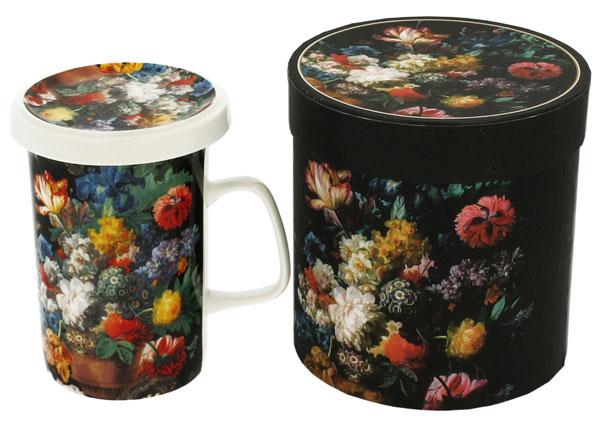 Cana de ceai din cu infuzor din portelan fin, decorat cu flori