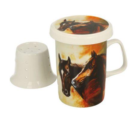 Set cana din portelan cu infuzor pentru ceai cu cai