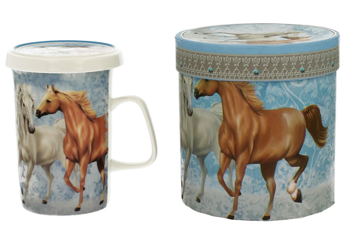 Cana din portelan cu infuzor pentru ceai cu cai