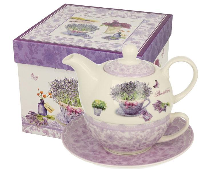 Ceainic si ceasca set de ceai din portelan cu lavanda