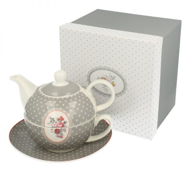 Ceainic de portelan set cu ceasca si farfurioara Juliana.ro