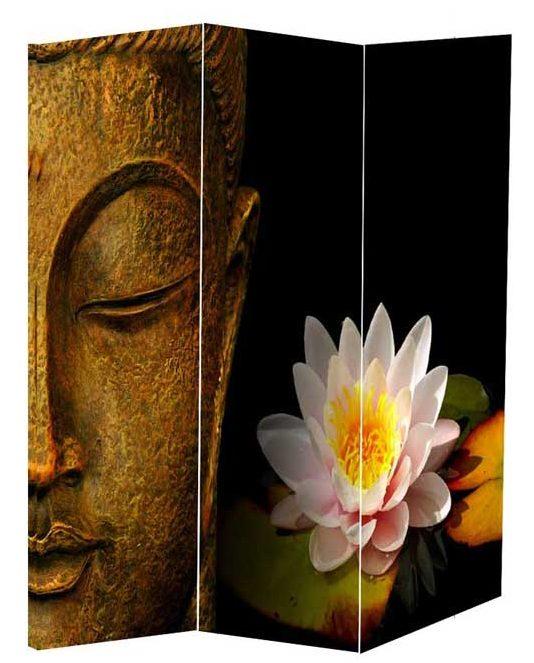 Paravan despartitor cu Buddha si floare de lotus