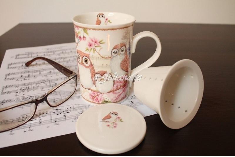 cana de ceai cu infuzor portelan fin