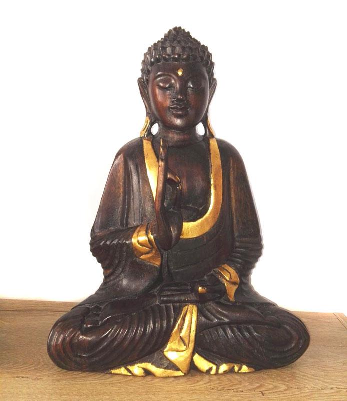 Statueta Buddha lemn sculptat