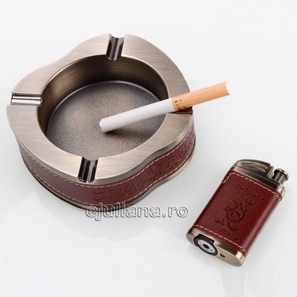 Set de birou pentru fumatori cu scrumiera si bricheta
