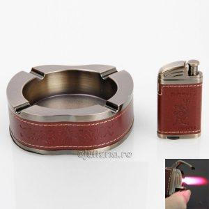 Set cadou pentru fumatori cu scrumiera si bricheta pentru birou