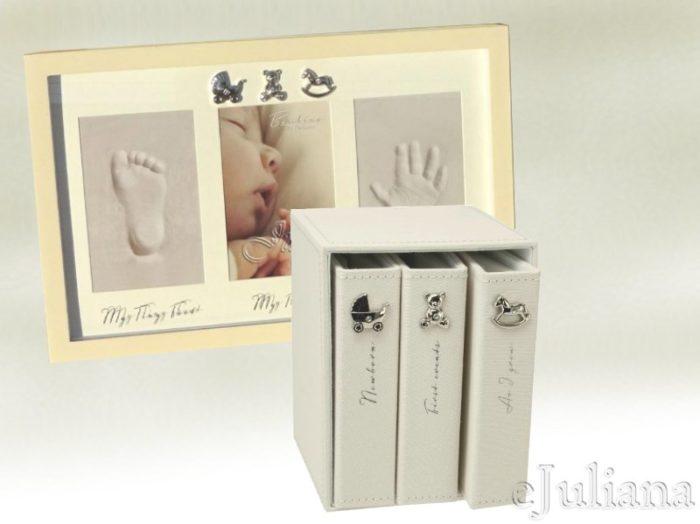Rama amprenta bebelulususlui si set de trei albume Bambino