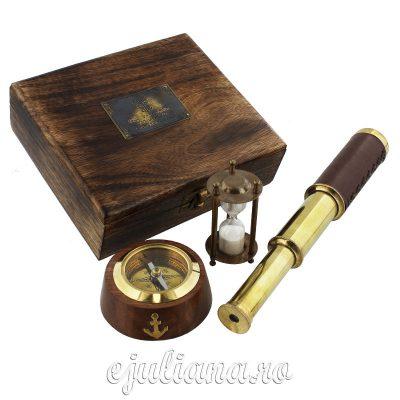 busola clepsidra ochian in cutie de lemn