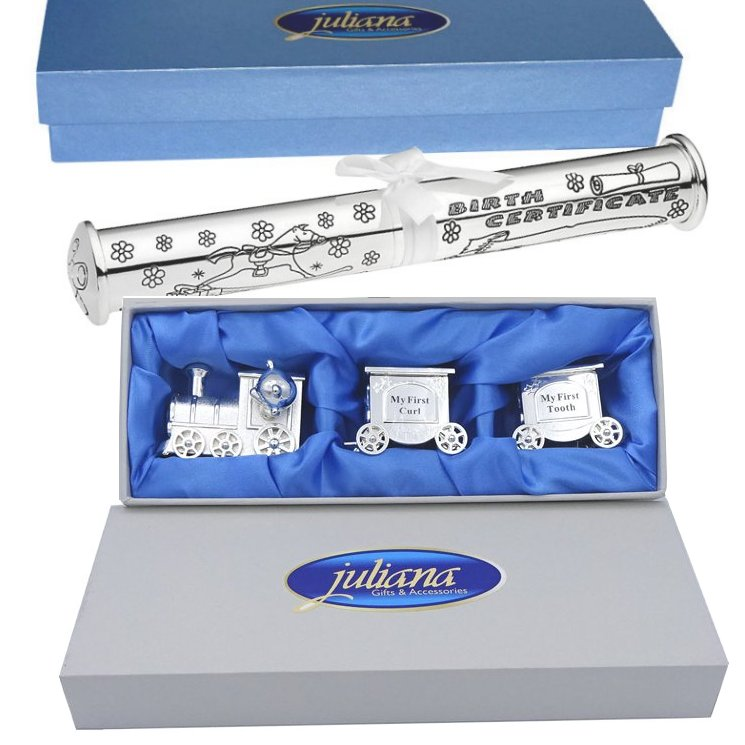 Set tren argintat pentru mot dintisor si suport pentru certificat de nastere argintat