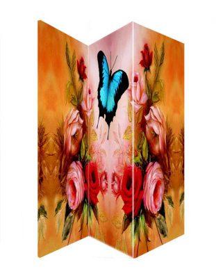 Paravan despartitor decorativ cu flori si fluture