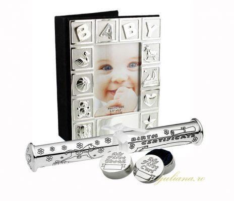 Album Baby, cutiute pentru prima suvita si primul dintisor impreuna cu suport pentru certificat de nastere argintat Juliana