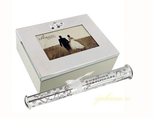 Caseta de nunta si suport pentru certificat argintat pentru miri