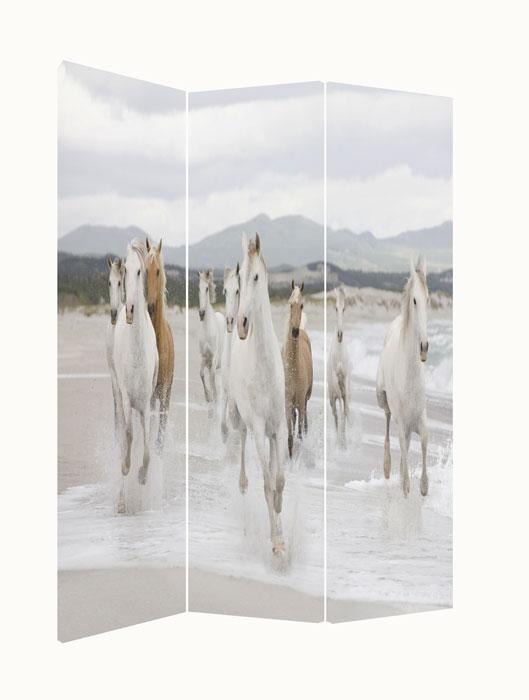 Paravan despartitor trei panouri decorate cu cai