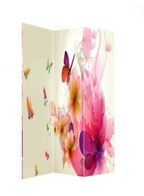 Paravan despartitor decorativ cu fluturi si flori