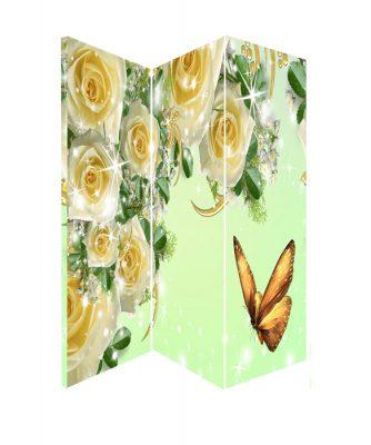 Paravan despartitor decorativ cu fluturi si trandafiri