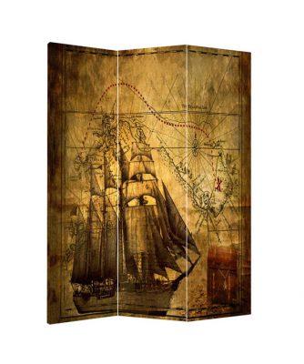 Paravan despartitor decorativ vintage cu harta si corabie cu panze