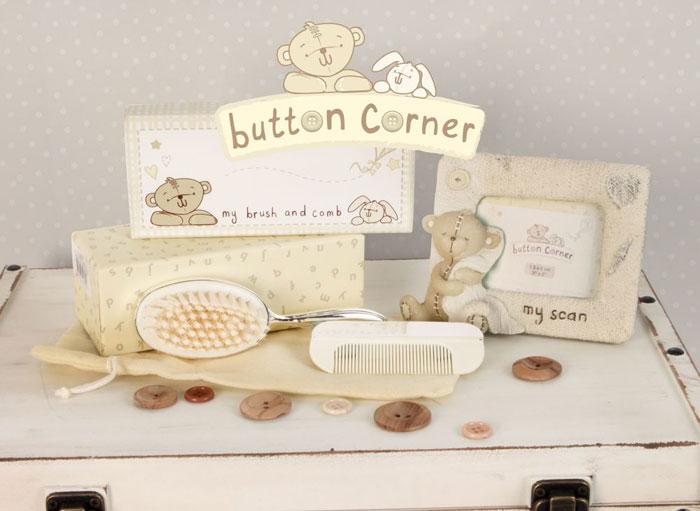 Rama ecografie, set perie si pieptan Button Corner by Juliana