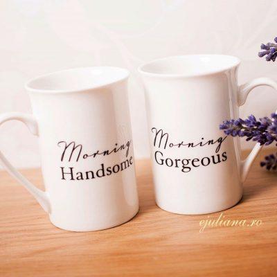 Set doua cani de cafea din portelan fin pentru cuplu si miri