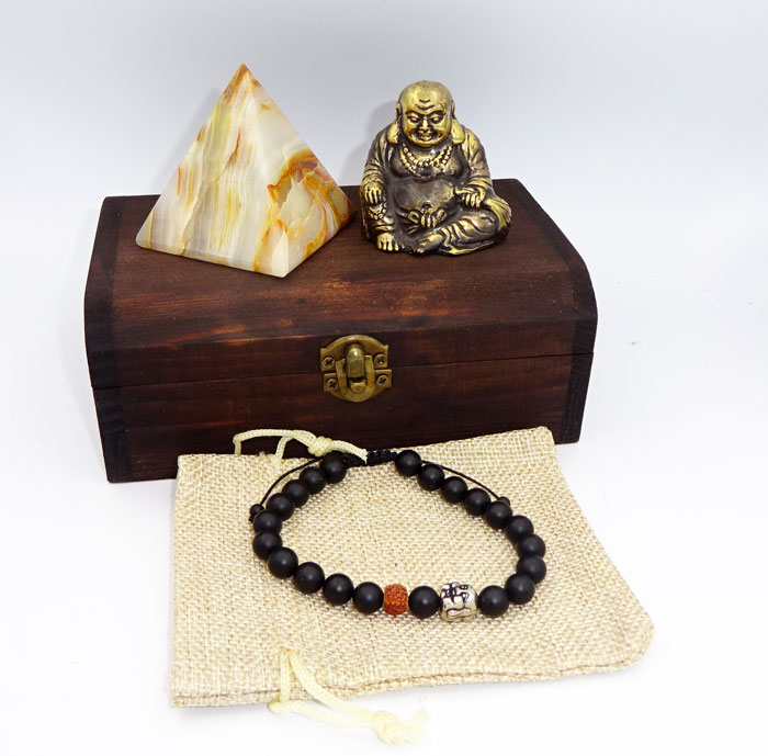 Buddha, statueta de alama, piramida de onix si bratara de pietre semipretioase, onix negru si rudraska, cadouri pentru barbati
