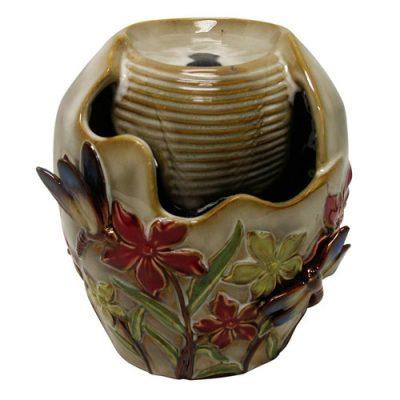 Fantana feng shui pentru interior, fantana de ceramica cu libelule
