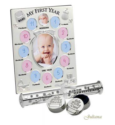 Rama primul an, cutiute mot dintisor suport pentru certificatul de nastere