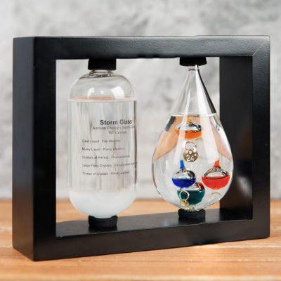 Statie meteo termometru Galileo Galilei si Storm Glass Sticla furtunii