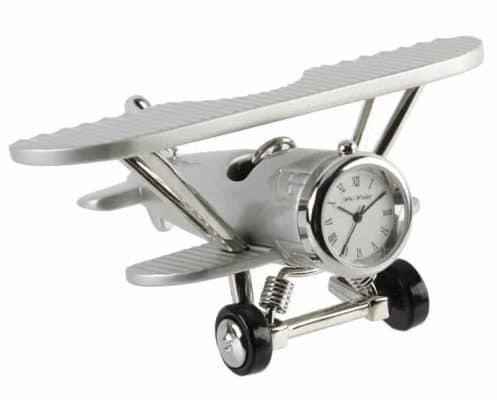 Ceas miniatura avion biplan argintiu