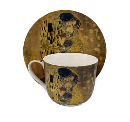 Cana de portelan cu lingurita Gustave Klimt