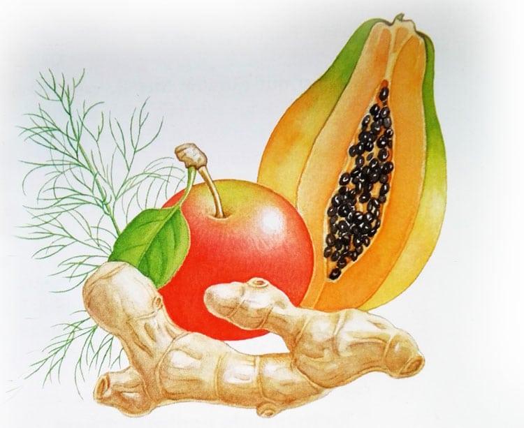 Papaia, mar, ghimbir, marar - tratament pentru indigestie