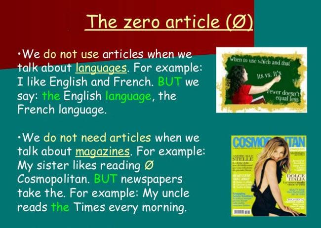 Articolul zero in Engleza